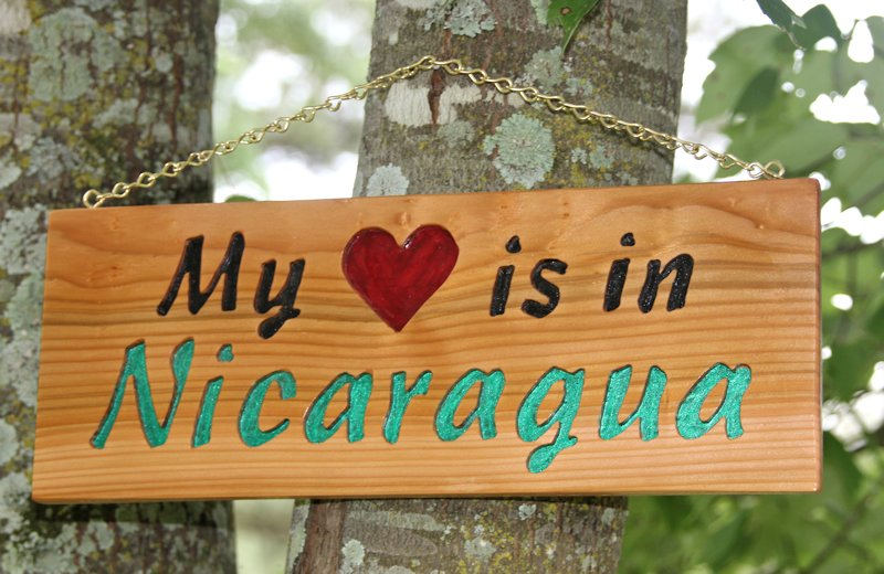 My Heart Is In Nicaragua Cedar Wood Carving - Missions loving people in Jesus