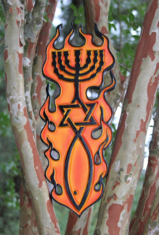 P-066 One New Man Messianic Jewish Christian wood carving Ephesian 2:15 airbrush