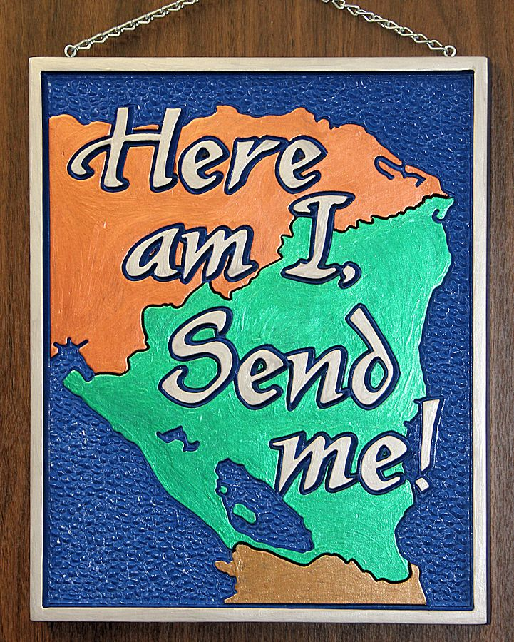 Send Me great commission nicaragua missions Isaiah 6:8 wood carving wall art