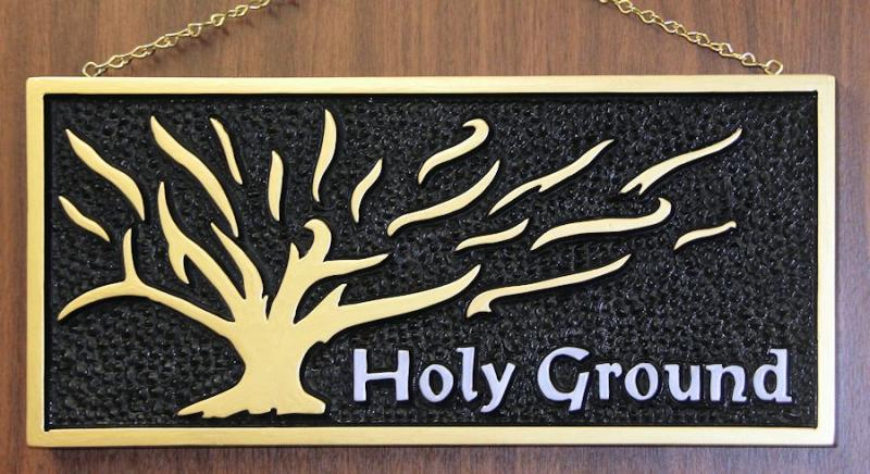 Holy Ground Moses Burning Bush wood carving Christian wall art Exodus 3:5