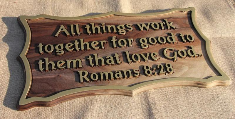 All Things Work Together Bible Wood Carving Romans 8:28 Scripture Christian