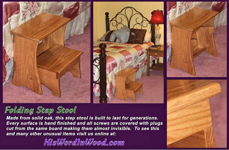 Solid Oak Folding Step Stool highest quality handmade heirloom support missions