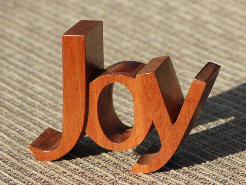 Joy African Mahogany pierced wood carving Nehemiah 8:10 desk mantle Christian