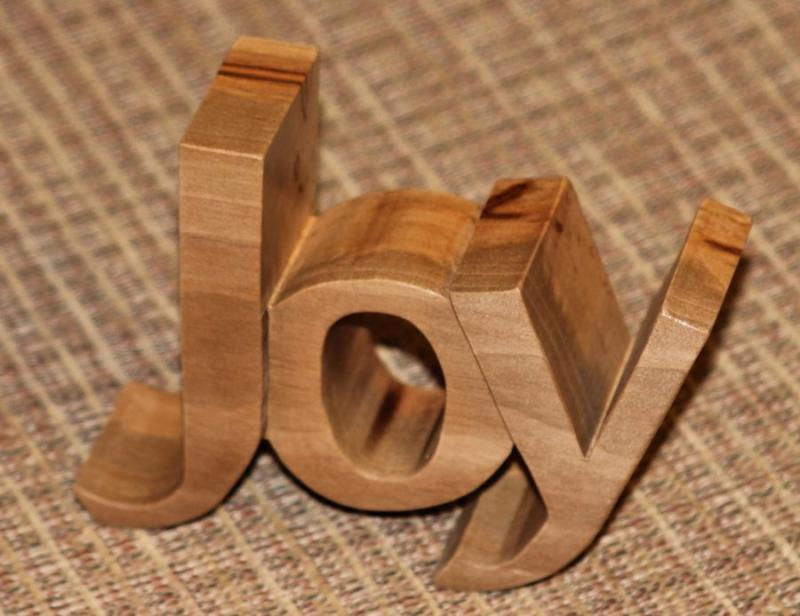 Joy Pierced Wood Carving Christian home decor desk mantle fruit Holy Spirit