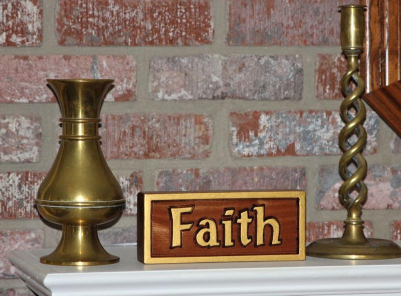 Hand Made Faith Mahogany Wood Carving Christian Desk Mantle home decorating
