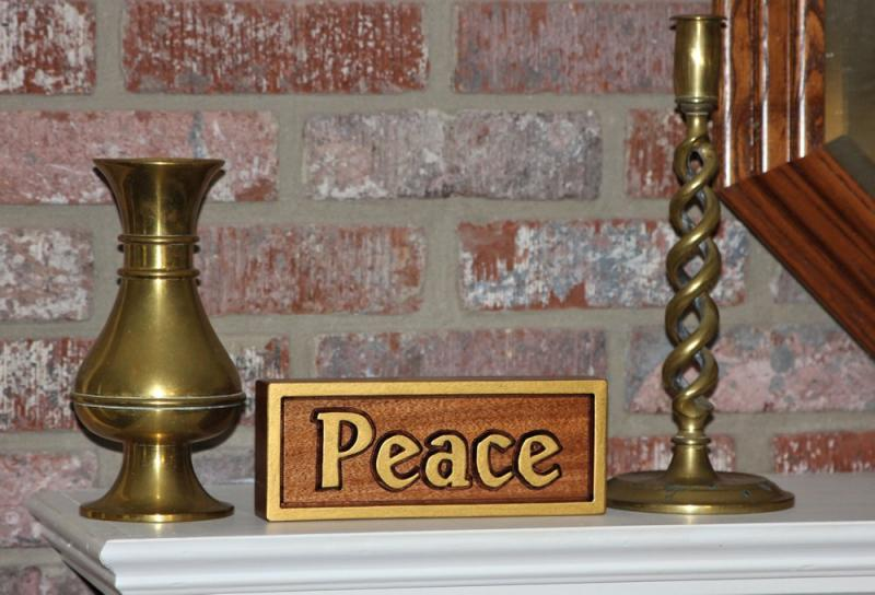 Peace Mahogany Wood Carving Christian Shalom John 14:27 Philippians 4:7