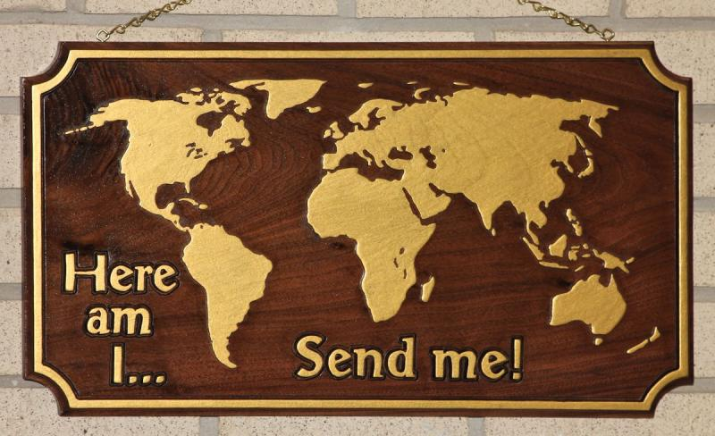 Here am I Send Me Isaiah 6:8 Great Commission missions walnut wood carving