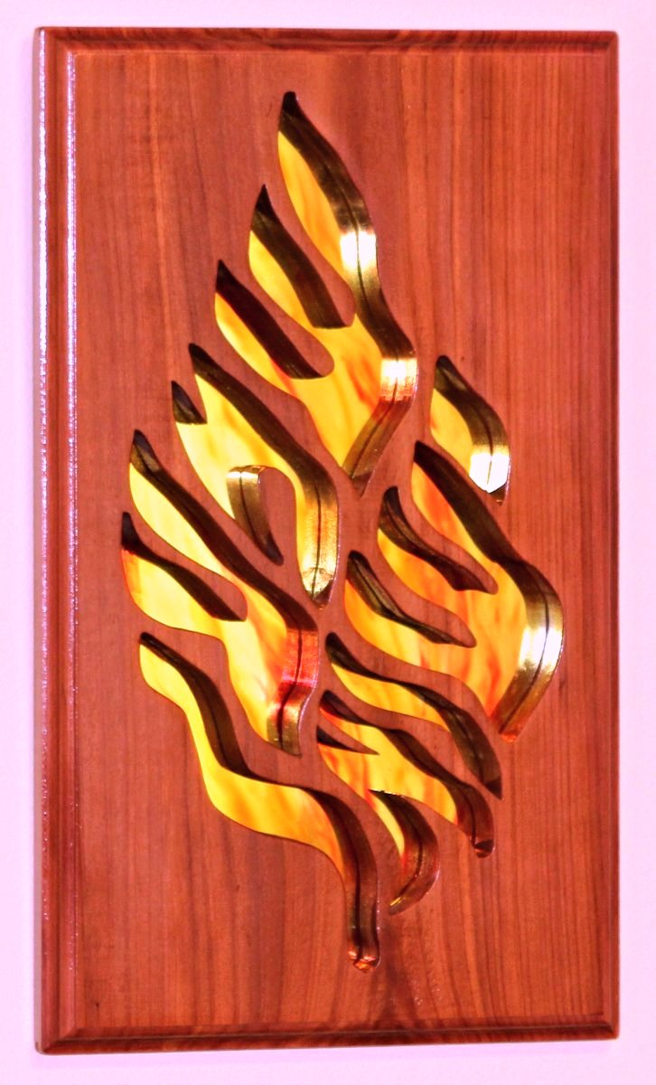 Shema Yisrael Hear O Israel Deuteronomy 6:4 Mirrored Cedar carving Jewish