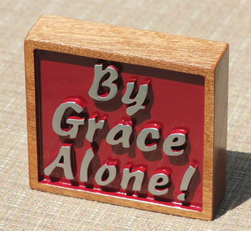 By Grace Alone Mahogany wood carving Christian Home Decor witnessing Bible