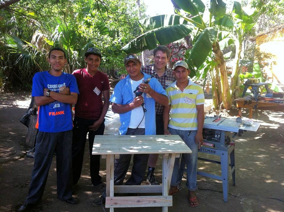 Teaching woodworking in Nicaragua missions workbench rough lumber Jesus