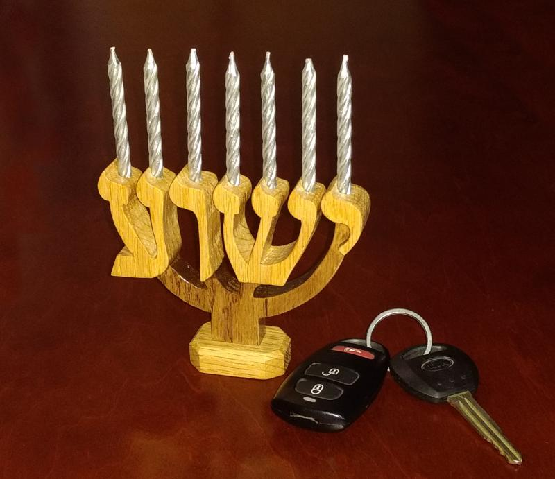 Micro Yeshua Seven Branched Menorah candles messianic Hebrew wood carving Bible