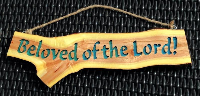 Beloved of the Lord Natural Cherry Scripture Wood Carving encouragment Bible