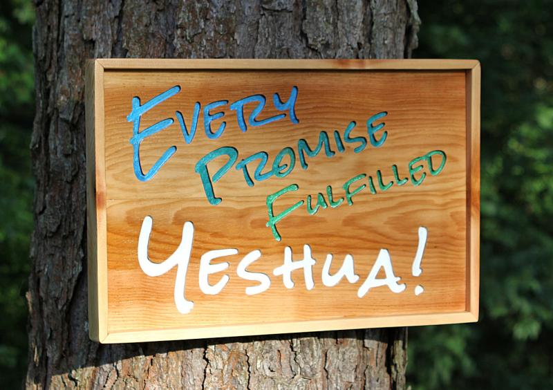 Every Promise Fulfilled - Yeshua Cedar woodcarving with frame free standing