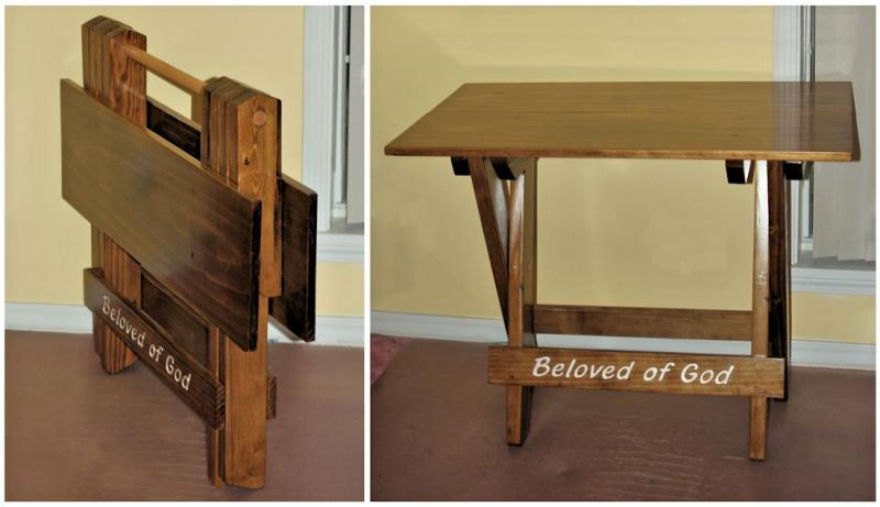 Wooden Folding Tables strong sewing display tool stand easy setup custom carved