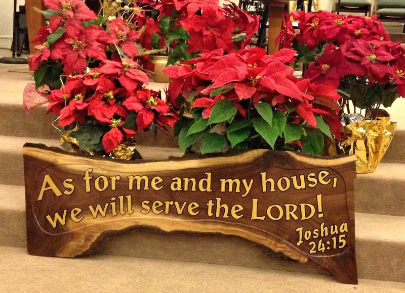 As For Me and My House Joshua 24:15 Walnut Wood Carving Christian Home Decor