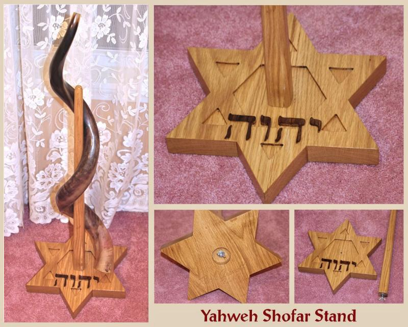 Hand carved Yahweh Shofar Stand in White Oak YHWH